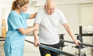 Neuro-rehabilitation treatment of an aged care resident by a therapist